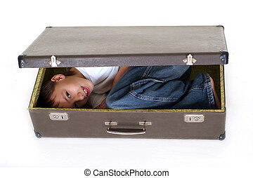 boy in suitcase