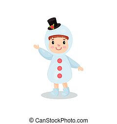 Cute little boy in the costume of snowman, kid in festive costume cartoon vector illustration