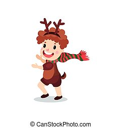 Cute little boy in the costume of reindeer, kid in festive...