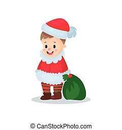 Cute little boy in the costume of Santa Claus, kid in...