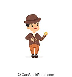 Cute little boy in tweed suit with pocket watch, young...