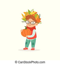 Cute little boy in warm clothing and wreath of leaves on his head holding pumpkin, lovely kid enjoying fall, autumn kids activity vector Illustration