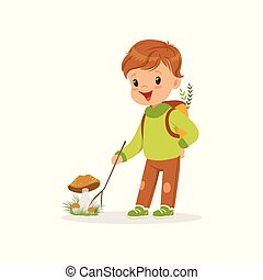 Cute little boy in warm clothing collecting mushrooms, lovely kid enjoying fall, autumn kids activity vector Illustration