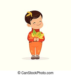 Cute little boy in warm clothing holding colorful maple leaves, lovely kid enjoying fall, autumn kids activity vector Illustration