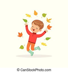 Cute little boy in warm clothing jumping and throwing autumn leaves up, lovely kid enjoying fall, autumn kids activity vector Illustration