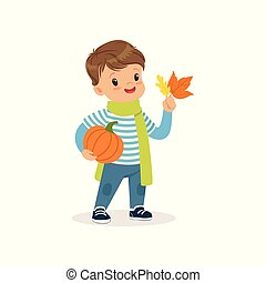 Cute little boy in warm scarf holding pumpkin and colorful maple leaves, lovely kid enjoying fall, autumn kids activity vector Illustration