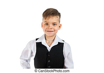 Cute little boy in white shirt and black sleeveless