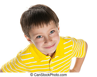 Cute little boy in yellow shirt