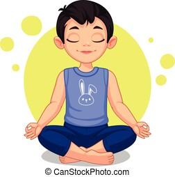 Cute little boy in yoga pose