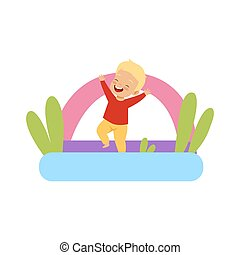 Cute little boy jumping on inflatable trampoline vector Illustration on a white background