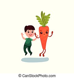 Cute little boy jumping with happy giant carrot vegetable character, best friends, healthy food for kids cartoon vector Illustration