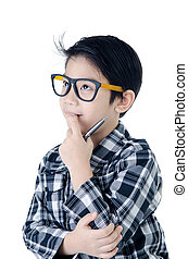 Cute little boy look like think about that with eye glasses...