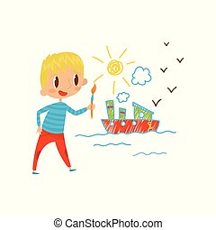 Cute little boy painting ship with color paints and brush on the wall, young artist, kids activity routine vector Illustration