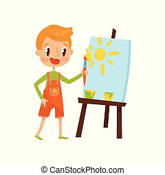 Cute little boy painting sun on an easel, kids creativity, education and development concept vector Illustration on a white background