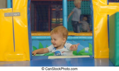 Cute little boy playing and having fun