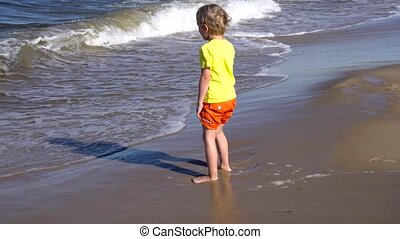little boy playing at the beach