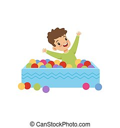 Cute little boy playing in pool with colorful balls vector Illustration on a white background