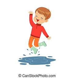 Cute little boy playing on a puddle wearing rubber boots cartoon vector Illustration