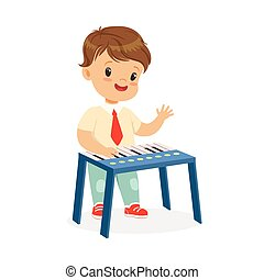 Cute little boy playing synthesizer, young musician with toy musical instrument, musical education for kids cartoon vector Illustration