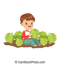 Cute little boy playing with cabbage in the garden, kids healthy food concept colorful vector Illustration