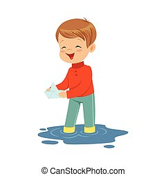 Cute little boy playing with paper boat in a water puddle cartoon vector Illustration
