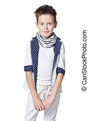 cute little boy posing isolated on white background