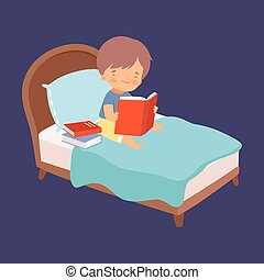 Cute Little Boy Reading Books in the Bed at Night Vector Illustration