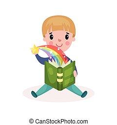 Cute little boy reading fairytale book with imagination rainbow colorful cartoon vector Illustration