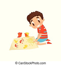 Cute little boy sitting on his knees and painting with colorful handprints, education and child development concept vector Illustration on a white background
