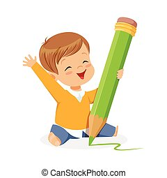 Cute little boy sitting on the floor and writing with a giant green pencil cartoon vector Illustration