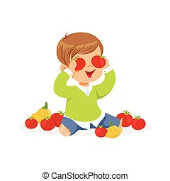 Cute little boy sitting on the floor playing with tomatoes, kids healthy food concept colorful vector Illustration