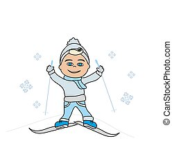 Cute little boy skiing
