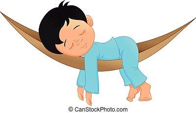 Cute little boy sleeping cartoon