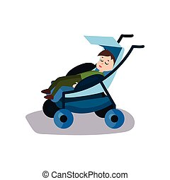 Cute little boy sleeping in a blue modern baby stroller, transporting of small children with comfort cartoon vector illustration