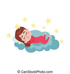 Cute little boy sleeping on a cloud, kid fantasizes and dreams cartoon vector Illustration