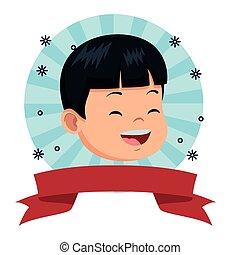 Cute little boy smiling face
