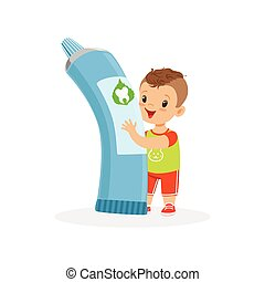 Cute little boy standing and holding big tube of toothpaste, cute cartoon character vector Illustration