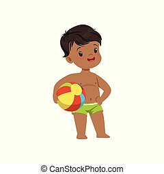 Cute little boy standing with a ball, kid playing at the beach, happy infants outdoor activity on summer vacations vector Illustration