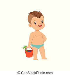 Cute little boy standing with bucket, kid playing at the beach, happy infants outdoor activity on summer vacations vector Illustration