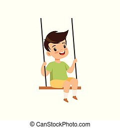 Cute little boy swinging on a rope swing, kid having fun outdoor vector Illustration on a white background