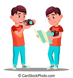 Cute Little Boy Take A Photo With Camera In His Hands Vector. Isolated Illustration