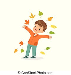 Cute little boy throwing colorful autumn leaves up, lovely kid enjoying fall, autumn kids activity vector Illustration