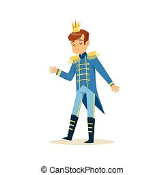Cute little boy wearing a blue prince costume, fairytale costume for party or holiday vector Illustration