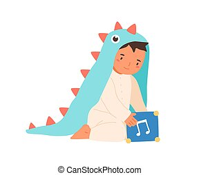 Cute little boy wearing dinosaur costume playing with music box vector flat illustration. Adorable toddler in romper suit sitting with toy cube isolated on white. Lovely child in funny apparel