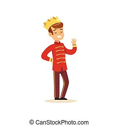 Cute little boy wearing in a red prince costume, fairytale costume for party or holiday vector Illustration