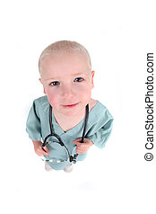 Cute Little Boy Wearing Scrubs