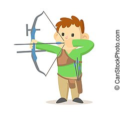 Cute little boy with a bow and arrow. Cartoon flat vector illustration. Isolated on white background.