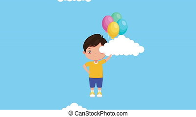 cute little boy with balloons helium character