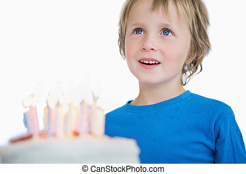 Cute little boy with birthday cake