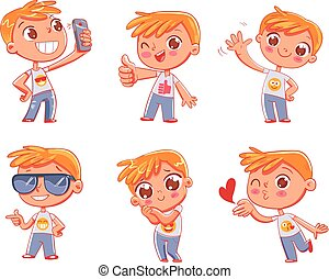 Cute little boy with different emotions. Emoji Stickers Emotions